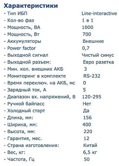 Характеристики Inelt Monolith K1000LT